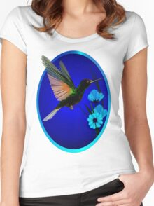 Green Hummingbird-Blue Flowers Oval Women's Fitted Scoop T-Shirt
