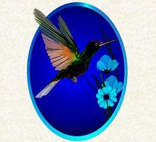 Green Hummingbird-Blue Flowers Oval Hoodie