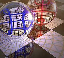 Spheres refraction reflections #2 by Carol and Mike Werner