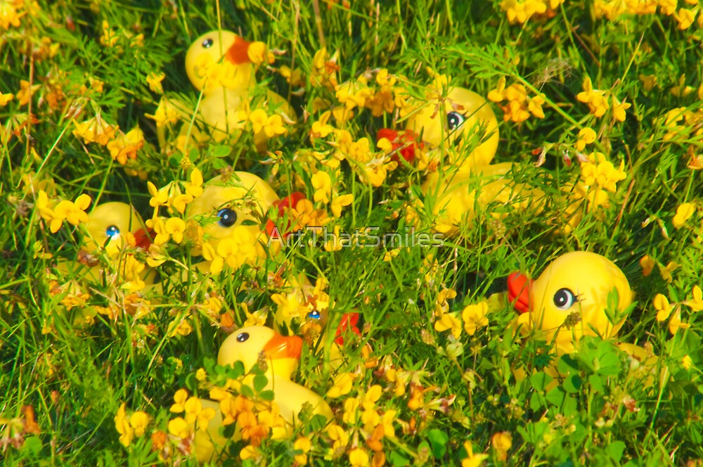"""Hide and Seek"" - rubber duckies hiding in the flowers by John Hartung"