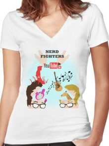 Nerd Fighters P4A! Women's Fitted V-Neck T-Shirt