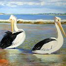 Pelicans on the lake by Barbara Cliff