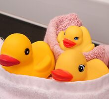 """All Wrapped Up"" - rubber duckies in bathroom by John Hartung"