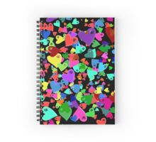 VW Love Hearts on Black Spiral Notebook