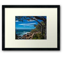 Rocks, Sea and Stripes in the Sky Framed Print