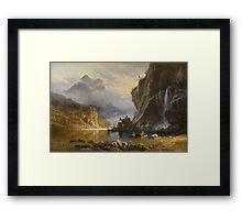 Indians Spear Fishing - Albert Bierstadt Framed Print