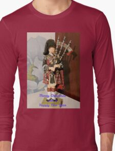 Scottish Piper Christmas and New Year Card Long Sleeve T-Shirt