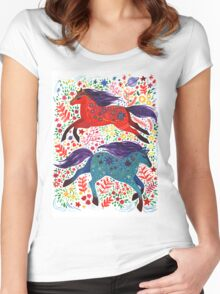 A Horse of Red and Blue Women's Fitted Scoop T-Shirt