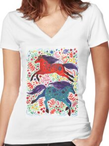A Horse of Red and Blue Women's Fitted V-Neck T-Shirt