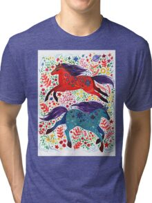 A Horse of Red and Blue Tri-blend T-Shirt