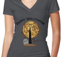 Creepy Halloween Tree Women's Fitted V-Neck T-Shirt