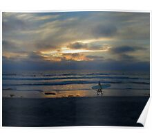 Ocean Beach Surfer at Sunset Poster