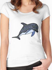 Dolphin Typography Playful Curious Sensitive Insti Women's Fitted Scoop T-Shirt