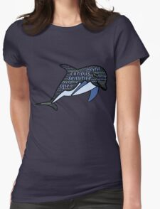 Dolphin Typography Playful Curious Sensitive Insti Womens Fitted T-Shirt