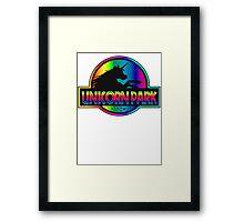 Unicorn Park Jurassic Parody T Shirt Framed Print