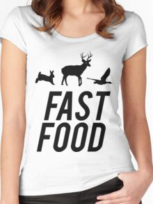 Fast Food Deer Hunter Venison Women's Fitted Scoop T-Shirt