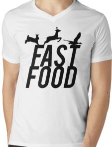 Fast Food Deer Hunter Venison Mens V-Neck T-Shirt