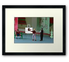 While Sue Muss paints her son's portrait, Jim says, 'it IS beginning to look a lot like Chris Muss!' Framed Print