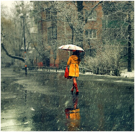 A girl in a yellow coat by Iuliia Dumnova