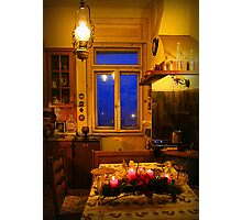 In the yellow kitchen before Christmas Photographic Print