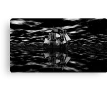 Sailing into the Mists of History B&W Canvas Print