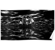Sailing into the Mists of History B&W Poster