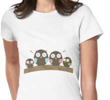 Owl Family Womens Fitted T-Shirt