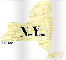 New York State Black and Gold Poster