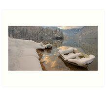 Snowy Boat on Bohinj Art Print