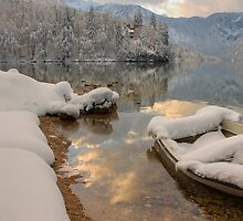 Snowy Boat on Bohinj by Ian Middleton