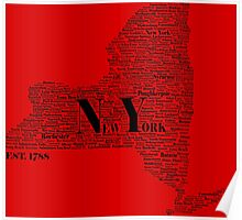New York State Black Text Poster