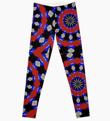 Red Gray Blue Kaleidoscope Leggings