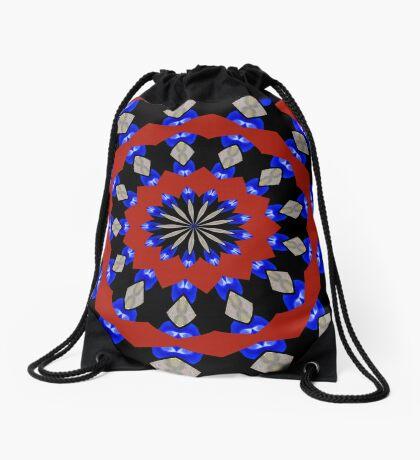 Red Gray Blue Kaleidoscope Drawstring Bag