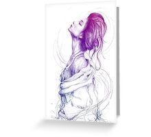 Beautiful Purple Woman Illustration Fashion Beauty Art Greeting Card