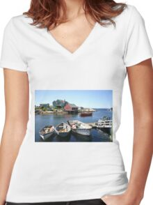 Peggy's Cove, Nova Scotia Women's Fitted V-Neck T-Shirt