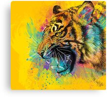 Angry Tiger Colorful Illustration Yellow Wild Animal Canvas Print