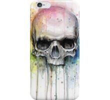 Watercolor Skull Rainbow Colorful Painting iPhone Case/Skin