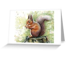 Squirrel Watercolor Painting, Forrest Animal Greeting Card