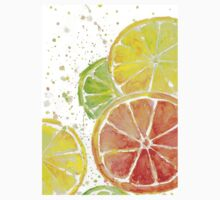Juicy Citrus Fruit Watercolor, Food Painting, Tasty Art One Piece - Short Sleeve