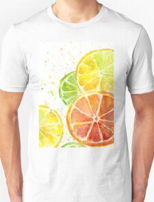 Juicy Citrus Fruit Watercolor, Food Painting, Tasty Art T-Shirt