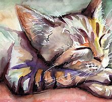 Sleeping Kitten Watercolor, Cute Cats Illustration by Olga Shvartsur