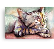 Sleeping Kitten Watercolor, Cute Cats Illustration Canvas Print