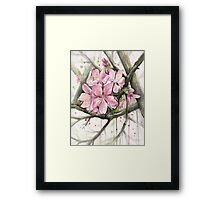 Cherry Blossom Watercolor Painting Framed Print