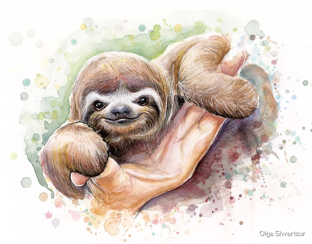 Quot Baby Sloth Watercolor Painting Cute Baby Animals Print