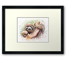 Baby Sloth Watercolor Painting, Cute Baby Animals Print Framed Print