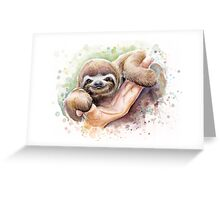 Baby Sloth Watercolor Painting, Cute Baby Animals Print Greeting Card