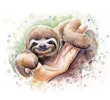 Baby Sloth Watercolor Painting, Cute Baby Animals Print Photographic Print