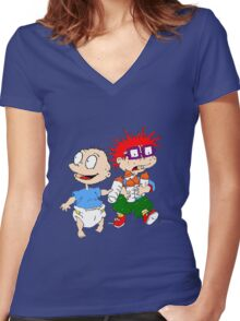 Rugrats Tommy and Chuckie Women's Fitted V-Neck T-Shirt