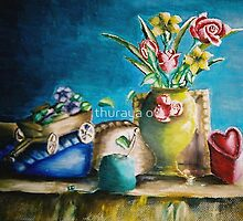 still life roses and flowers by thuraya arts