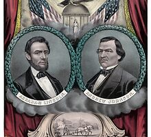 Abraham Lincoln and Andrew Johnson Election Banner 1864 by warishellstore